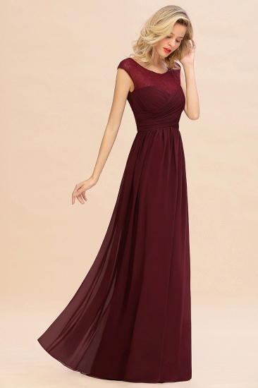BMbridal Modest Burgundy Chiffon Sleeveless Ruffle Bridesmaid Dress Affordable_8
