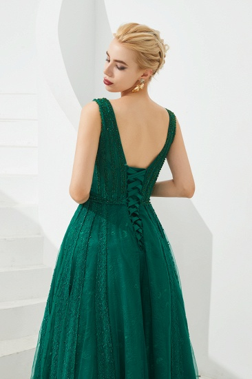 Glamorous Green V-Neck Sleeveless Prom Dress Long With Beadings Online_9