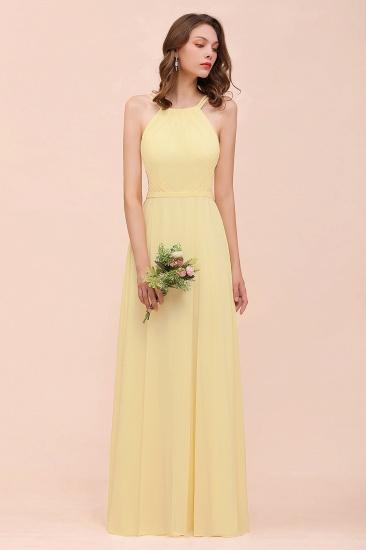 Affordable Daffodil Chiffon Sleeveless Long Bridesmaid Dress with Ruffle_4