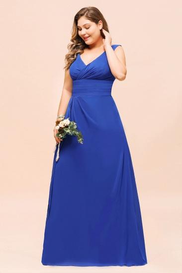 Elegant V-Neck Sleeveless Chiffon Plus Size Bridesmaid Dress_5