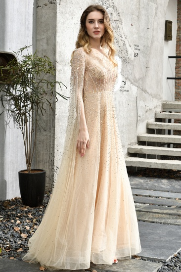 BMbridal Luxurious Tulle Crystals Long Prom Dress Online With Ruffle Sleeves_11