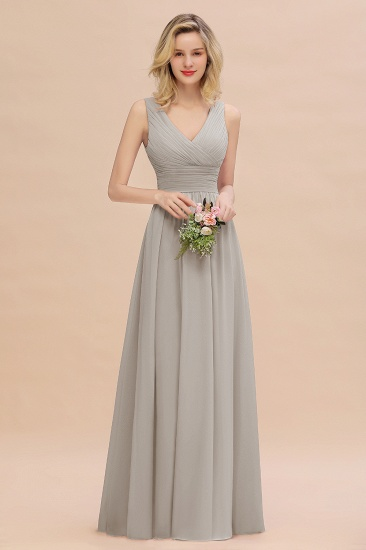 Elegant V-Neck Dusty Rose Chiffon Bridesmaid Dress with Ruffle_30