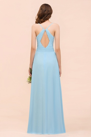 Chic Spaghetti Straps Ruffle Sky Blue Chiffon Bridesmaid Dress Online_3