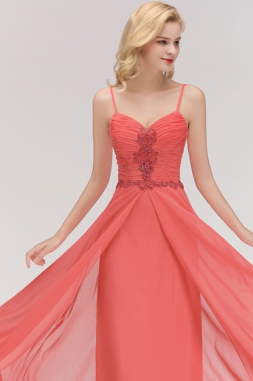BMbridal Modest Spaghetti-Straps Ruffle Affordable Bridesmaid Dress with Appliques_8