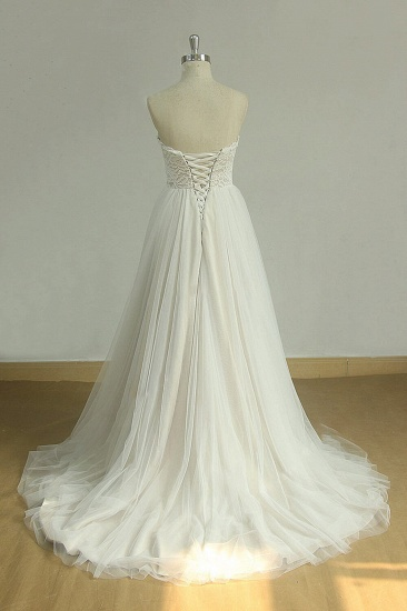 BMbridal Chic Sweetheart Lace Wedding Dress White Tulle Ruffles Bridal Gowns On Sale_3