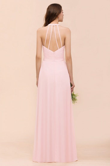 Chic V-Neck Blushing Pink Chiffon Affordable Bridesmaid Dress with Ruffle_3