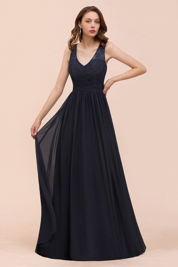 BMbridal Affordable Lace V-Neck Navy Bridesmaid Dress with Open Back_8