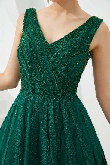 Glamorous Green V-Neck Sleeveless Prom Dress Long With Beadings Online_13