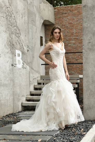 BMbridal Gorgeous Mermaid Tulle Appliques Ivory Wedding Dress_10