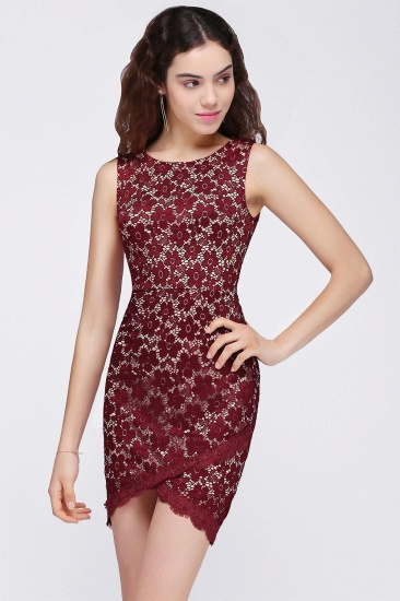 BMbridal Bodycon Round Neck Short Lace Burgundy Homecoming Dress_6