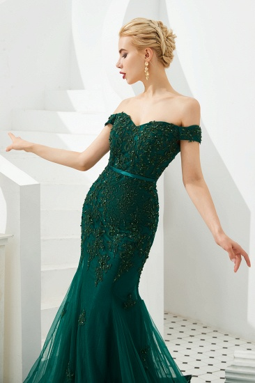 BMbridal Off-the-Shoulder Green Prom Dress Long Mermaid Evening Gowns With Lace Appliques_8