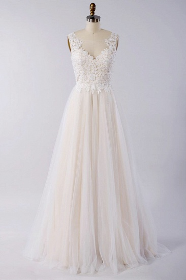 BMbridal Stylish V-neck Straps Tulle Wedding Dress Appliques A-line Ruffles Bridal Gowns On Sale_1