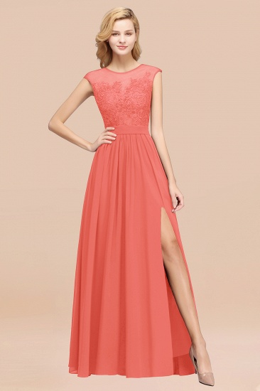 Affordable Scoop Lace Appliques Yellow Bridesmaid Dresses with Slit_7