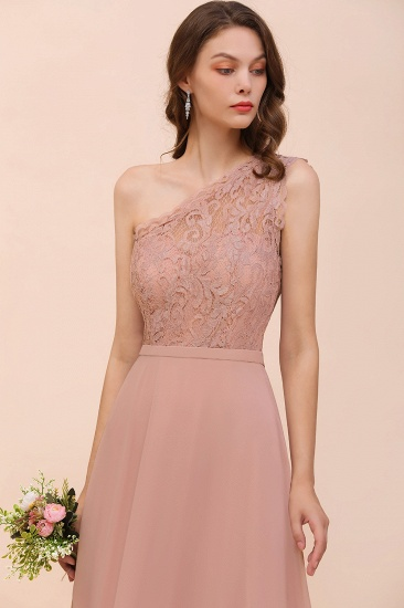 New Arrival Dusty Rose One Shoulder Lace Long Bridesmaid Dress_58