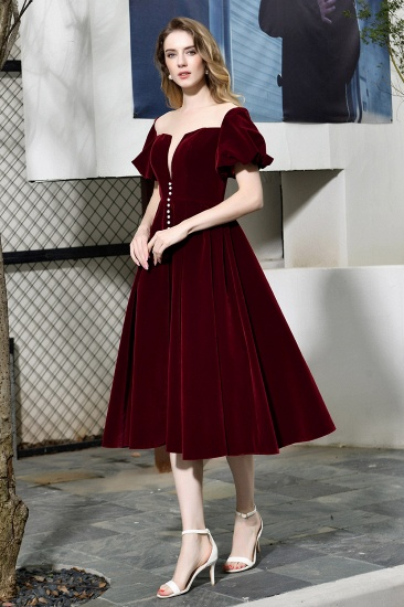 Vintage Bugrundy Short Sleeve Prom Dress Tea-Length Party Gowns With Lace-up_7
