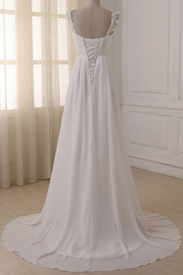 BMbridal Stylish Straps V-neck Chiffon Wedding Dress A-line White Appliques Bridal Gowns On Sale_3