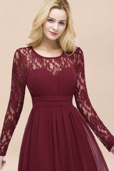BMbridal Elegant Lace Burgundy Bridesmaid Dresses Online with Long Sleeves_57