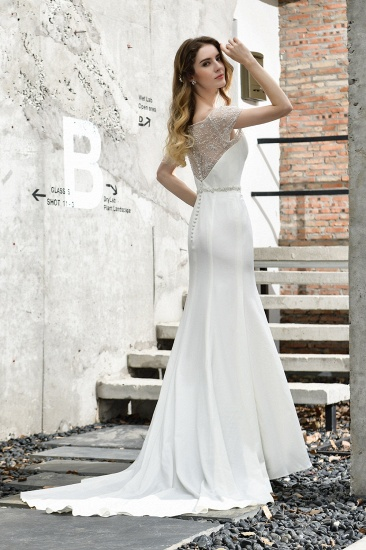 BMbridal Mermaid Satin Lace Off the Shoulder Affordable Ivory Wedding Dress_6