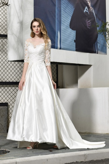 Elegant A-Line Satin Lace 3/4 Sleeves Ankle Length Wedding Dress_4