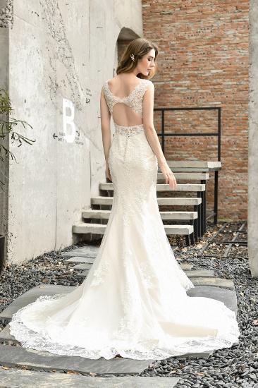 BMbridal Glamorous Mermaid Satin Lace Open Back Wedding Dress_3