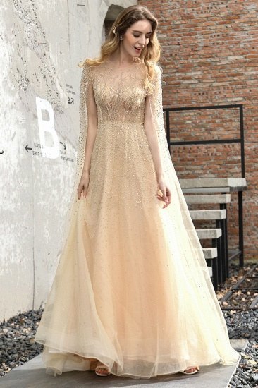 BMbridal Luxurious Tulle Crystals Long Prom Dress Online With Ruffle Sleeves_15