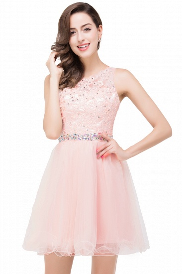 BMbridal A-line Knee-length Tulle Prom Dress with Appliques_1