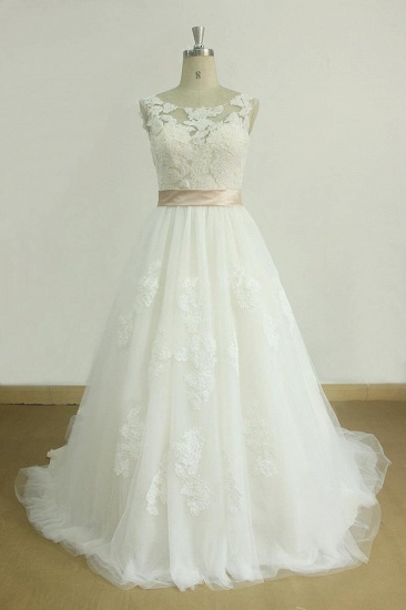 BMbridal Chic Jewel Lace Appliques Wedding Dress Sleeveless Tulle A-line Bridal Gowns On Sale_1