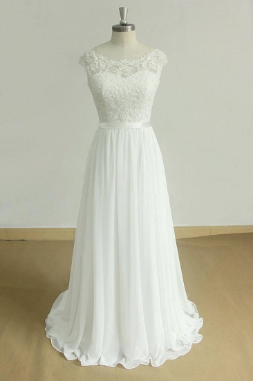 BMbridal Stylish White Chiffon Lace Wedding Dresses Jewel Sleeveless Bridal Gowns On Sale_1