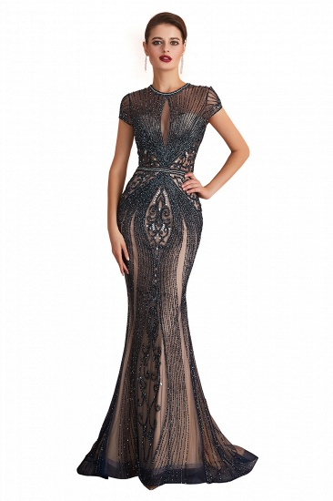 Luxurious Crystal Short Sleeve Prom Dress Long Mermaid Kehole Evening Gowns With Zipper Back_1