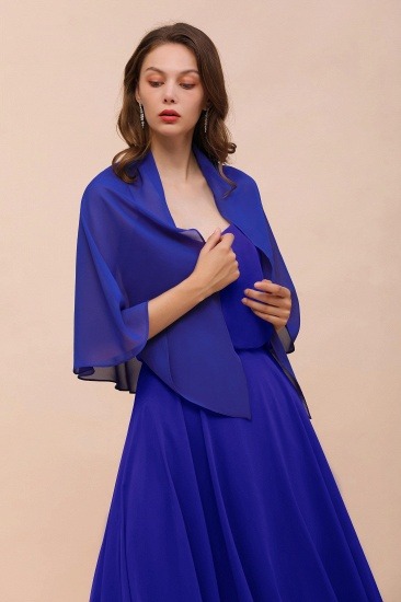 Royal Blue Chiffon Special Occasions Wraps_5