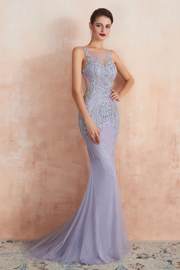 Luxurious Lilac Crystal Prom Dress Mermaid Long Evening Gowns_7