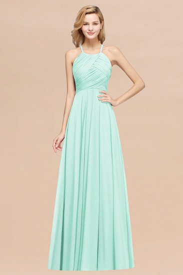 Halter Crisscross Pleated Bridesmaid Dress Blue Chiffon Sleeveless Maid of Honor Dress_36