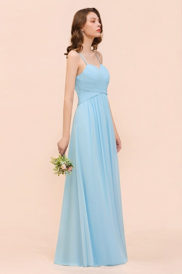 Chic Spaghetti Straps Ruffle Sky Blue Chiffon Bridesmaid Dress Online_7