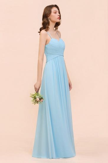 Chic Spaghetti Straps Ruffle Sky Blue Chiffon Bridesmaid Dress Online_7
