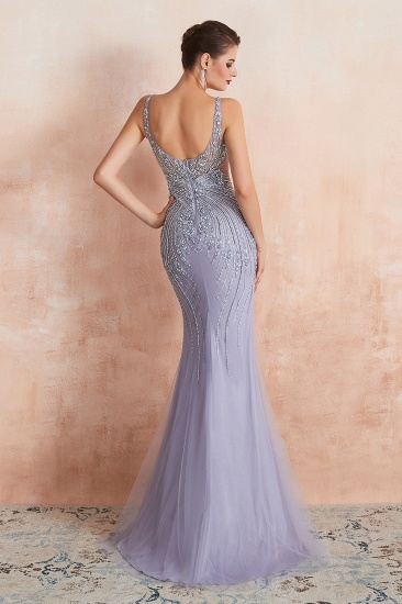 Luxurious Lilac Crystal Prom Dress Mermaid Long Evening Gowns_3