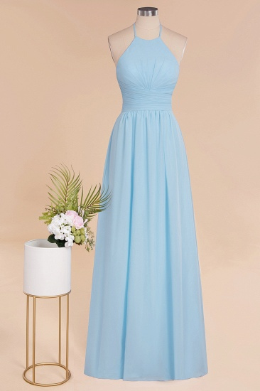 Glamorous Halter Backless Long Affordable Bridesmaid Dresses with Ruffle_59