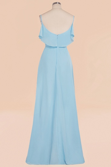Modest Hi-Lo V-Neck Ruffle Long Bridesmaid Dress with Slit_60