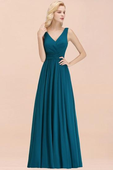 Modest Sleeveless V-Neck Long Chiffon Bridesmaid Dress Online with Ruffle_53