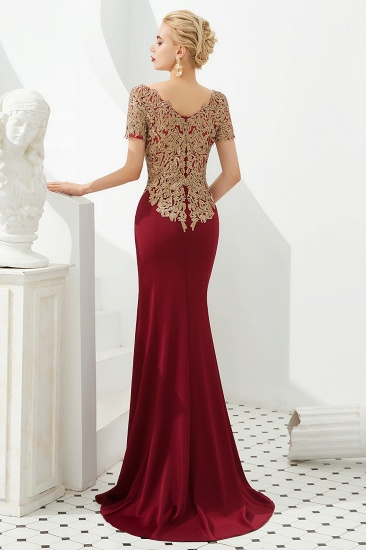 BMbridal Burgundy Short Sleeves Mermaid Prom Dress Long With Gold Appliques_5