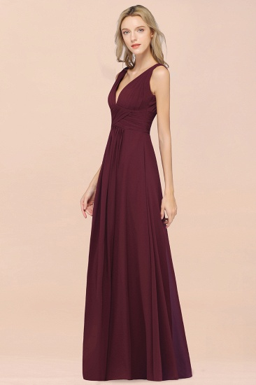 Elegant V-Neck Burgundy Chiffon Cheap Bridesmaid Dress with Ruffle_54