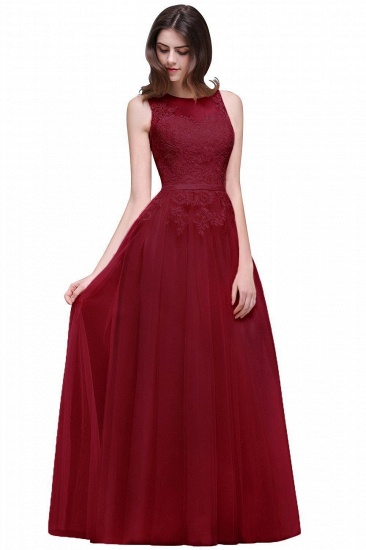 BMbridal Lace Sleeveless Long Tulle Prom Dress_3