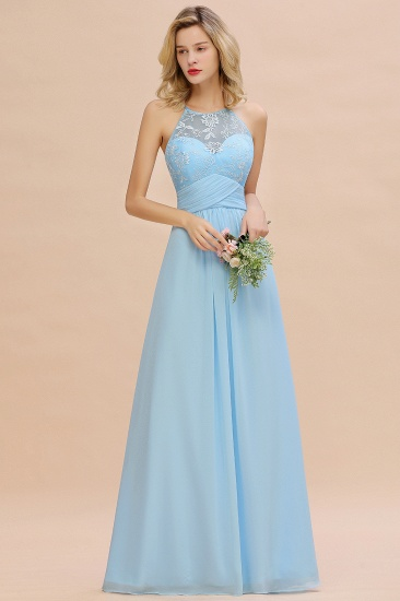 Elegant Jewel Ruffle Affordable Chiffon Bridesmaid Dress with Appliques_4