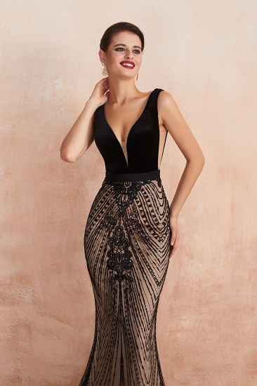 BMbridal Sexy Black Lace Mermaid Prom Dress Long Sleeveless Evening Party Gowns Online_9