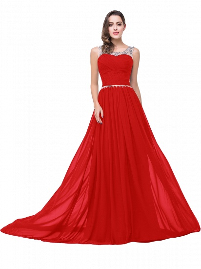 BMbridal A-line Court Train Chiffon Party Dress With Beading_2