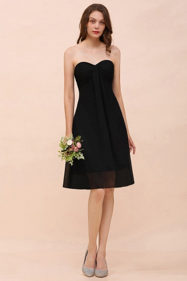 Lovely Strapless Sweetheart Ruffle Short Black Bridesmaid Dress Affordable_5