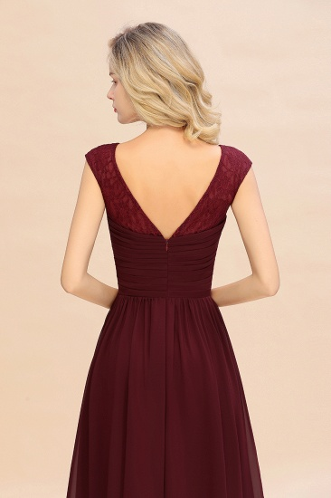 BMbridal Modest Burgundy Chiffon Sleeveless Ruffle Bridesmaid Dress Affordable_7