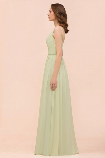 BMbridal Popular V-Neck Sage Chiffon Affordable Bridesmaid Dress with Low Back_6