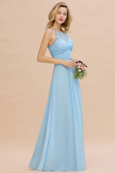 Elegant Jewel Ruffle Affordable Chiffon Bridesmaid Dress with Appliques_6