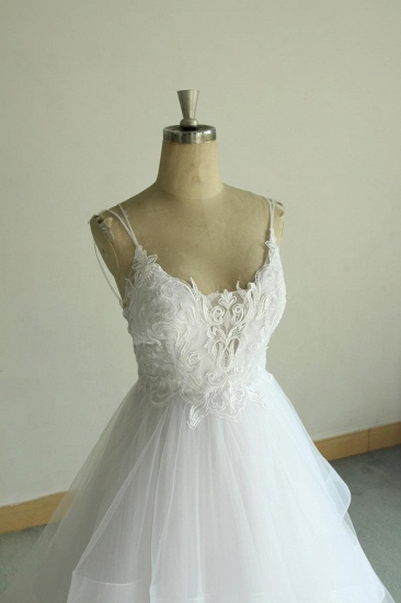 Sexy Spaghetti Straps Tulle White Wedding Dress Sleeveless A-line Bridal Gowns On Sale_6