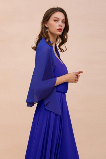 Royal Blue Chiffon Special Occasions Wraps_7